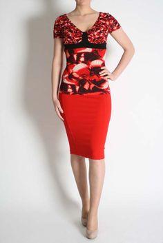 Isabel De Pedro Red Butterfly Top Peplum Dress, Bodycon Dress, Dresses, Fashion, Vestidos, Moda, Body Con, Fashion Styles, Dress