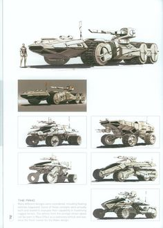 form ideas. needs to obviously appear that one company made each vehicle. Different purposes, same overall form design!  Syd Mead - Imgur