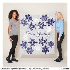 Christmas Sparkling Navy Blue Snowflakes Fleece Blanket