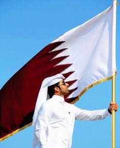 Thin Bordered Qatar Flag Pendant Square Tie Clip
