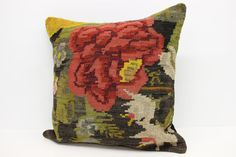 Moldovan Floral Kilim Pillow Cover  24 x 24 by kilimwarehouse