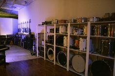 drum wall Drum Room, Home Studio, Drums, School Ideas, Shelving, Rock, Future, Storage, Wall