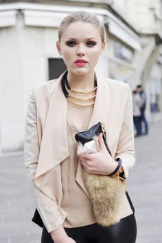 love the subtle neutrals with the kickass hot pink lipstick!