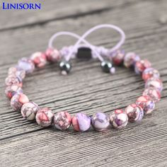 LINISORN Purple Beautiful Popular Stones Bracelets Female Wrap Bangles Hematite Braided Handmade Jewelry