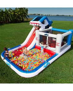 Blast Zone 'Shark Park' Wet & Dry Play Park - A Shark Slide, Pool, Ball Pit, and BOUNCE HOUSE!
