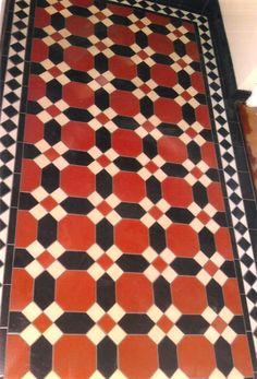 Red geometric Victorian tiles