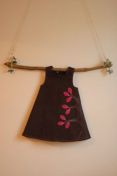 Brown Stretch Twill Dress with Pink Batik by UrbanSproutClothing, $55.00