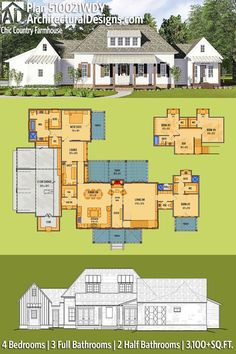 Architectural Designs House Plan 510021WDY Just about perfect. Maybe rearrange the kitchen / dining to create more formal dining and butler's pantry?