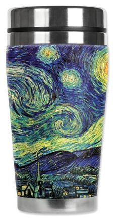 Mugzie® brand 16-Ounce Travel Mug with Insulated Wetsuit Cover - Van Gogh: Starry Night by Art Plates. $19.34. 16 Oz Stainless Steel Travel Mug covered with water-proof, neoprene wetsuit material.. Patent Pending. Truly unique. Made in the USA. FREE STANDARD SHIPPING.. Hand-sewn fabric cover is made from 1/4 inch closed-cell neoprene that is covered with soft, water-proof polyester fabric.. Stain-resistant cover is printed in hi-resolution and has full-wrap cove...