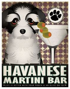 Havanese Drinking Dogs Original Art