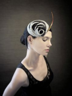 20's Flapper Style Grey Felt Fascinator with by pookaqueen on Etsy