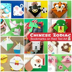12 Amazing Animal Corner Bookmark Designs to celebrate Chinese Year! The post Chinese Zodiac Bookmark Corner Designs appeared first on Red Ted Art. Origami Bookmark Corner, Bookmark Craft, Corner Bookmarks, Monkey Crafts, Pig Crafts, Unicorn Crafts, Paper Crafts For Kids, Easy Crafts For Kids, Diy For Kids