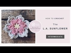 Learn how to crochet the flower L. Sunflower designed by Therese Eghult with this step by step video tutorial brought to you by SistersInStitch. Crochet Flower Patterns, Crochet Motif, Crochet Flowers, Crochet Stitches, Crochet Lace, Crochet Sunflower, Easy Crafts To Make, Sunflower Design, Flower Tutorial