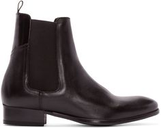 H by Hudson - Black Leather Watts Chelsea Boots