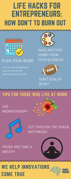 Entrepreneurs have to work all day, all night - all the time! Here are tips how not to burn out for those who live at work. Business Management, Entrepreneurship, Burns, Life Hacks, Night, Live, Useful Life Hacks