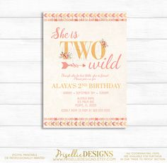 Boho Birthday Invitation, Two Wild Birthday Invitation, 2nd Birthday Invitation Girl, Floral Girl Birthday Invitation, Second Birthday by PrisellieDesigns on Etsy