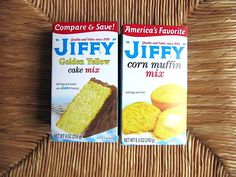 "Best cornbread ever! Uses one small box of Jiffy Yellow Cake Mix AND one small box Jiffy Corn Muffin Mix. Mix both boxes together and all the ingredients that are called for on both boxes. Pour into 8""x8"" or 9""x9"" greased pan. Bake."