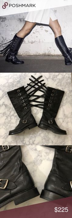 Frye Veronica Strap Black Boots, 6 These edgy Frye Veronica Strap Black Boots, 6 are perfect for a concert or festival setting or just out and about on the town! Pair with a leather jacket and all black attire 😎  GREAT CONDITION  JUST SOME VERY VERY LIGHT WEAR ON THE TOP OF THE TOES Frye Shoes Combat & Moto Boots