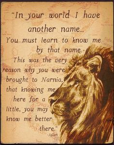 """Narnia C. Lewis said that Aslan did not """"represent"""" Christ. The way he explained it to one child was to imagine that there was a place called Narnia and in it, Christ appeared in the form of a Lion. Aslan IS Christ as he appears in Narnia Movie Quotes, Book Quotes, Aslan Quotes, Hobbit Quotes, Lyric Quotes, Quotes Quotes, Narnia Lion, Grand Chat, Lady In My Life"""