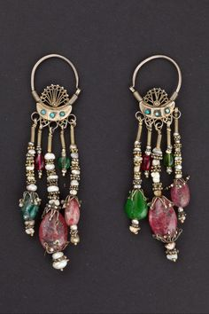 Earrings Bukhara, Uzbekistan Beginning 1900 Silver, turquoise ...