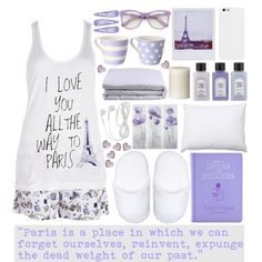 Sleeping in Paris by valdep on Polyvore featuring moda, Forever 21, Wildfox, Arran Aromatics, Hotel Madison, Safavieh, Frette, Waechtersbach and Crate and Barrel