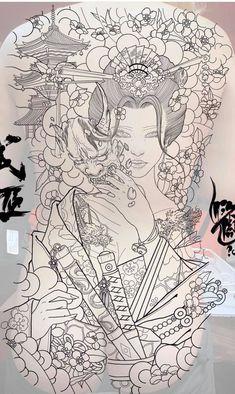 Aa Tattoos, Girl Tattoos, Tattoo Illustration, Back Tattoo, Art Sketches, Tatting, Body Art, Tattoo Designs, Japanese