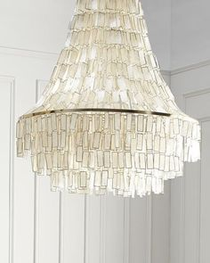 Beautiful capiz shell chandelier by Horchow H7W7G Melissa 3-Light