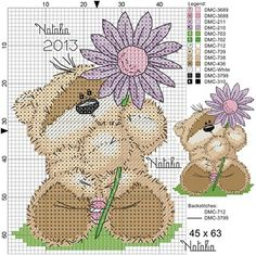 teddy w flower 45x63