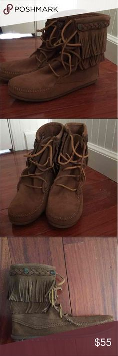 NWT Minnetonka double fringe boot Never worn. Has box. Size US 8. Dusty brown. Super cute!! I just have too many shoes!! Let me know if you have any questions!!! Will go lower on Mercari. Minnetonka Shoes Winter & Rain Boots