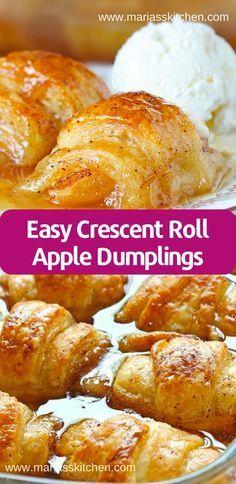 Crescent Roll Apple Dumplings, Easy Apple Dumplings, Apple Dumpling Recipe, Apple Crescent Rolls, Peach Dumplings, Dessert With Crescent Rolls, Recipe With Crescent Rolls And Apples, Apple Recipes Easy, Apple Dessert Recipes