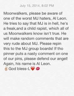 Please read! Very important and repin to all MJ fan boards!!