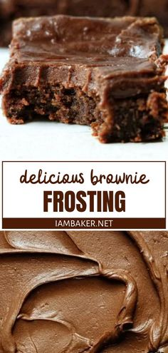 Chocolate Frosting Recipes, Brownie Recipes, Bakery Brownies Recipe, Chocolate Frosting For Brownies, Frosted Brownies, Easy Desserts, Delicious Desserts, Dessert Recipes, Yummy Treats