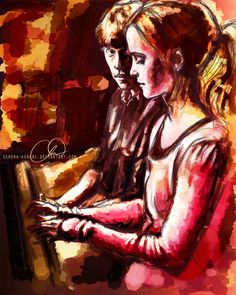 Hermione and Ron - The Piano by =Serena-Kenobi. he watches