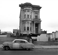 House Movers of San Francisco, by Dave Glass Victorian Buildings, Victorian Architecture, Victorian Homes, Building Movers, Building A House, House Movers, Places In California, San Francisco City, Moving House
