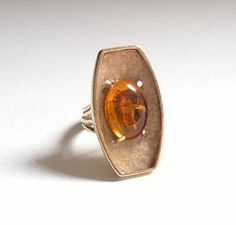 1950s 14k Gold and Amber Ring