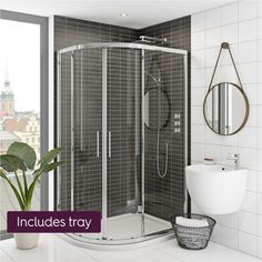 Mode Hardy 8mm left handed offset quadrant shower enclosure and stone shower tray