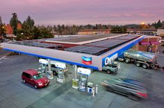 Meng-Hannan Construction, Inc. helped a gas station reduce its carbon footprint Gas Station, Construction, Green, Parking Lot, Building