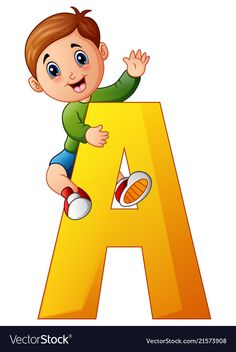 Little boy holding letters a Royalty Free Vector Image Kids Cartoon Characters, Cartoon Kids, Drawing For Kids, Painting For Kids, School Board Decoration, Classroom Charts, Flashcards For Kids, School Coloring Pages, Alphabet Pictures