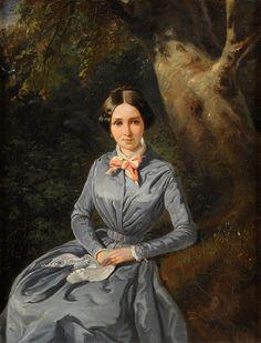 Weller, Theodor Leopold 1802 Mannheim - Мангейм 1880 Дама в голубом платье..jpg