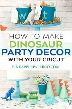 Dinosaur Party Ideas - Dinosaur Birthday Party DIY Dinosaur Party Ideas by Pineapple Paper Co. with Martha Stewart, Cricut, and Michaels Dinosaur Party Favors, Dinosaur Birthday Party, Birthday Diy, Boy Birthday Parties, Birthday Ideas, Third Birthday, Birthday Party Decorations, Martha Stewart, Party Ideas
