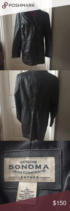 Beautiful women'sblack leather jacket Beautiful women's black leather jacket. Gently worn size large Sonoma Jackets & Coats