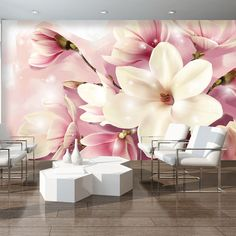 Discover thousands of images about Fototapeten Fototapete Tapeten Tapete Poster Wandbild Weiss Blumen 3d Wallpaper Decor, Room Wallpaper Designs, Mural Art, Wall Murals, Wall Unit Designs, Bedroom False Ceiling Design, Pink Nature, 3d Wall Decor, Vintage Decor