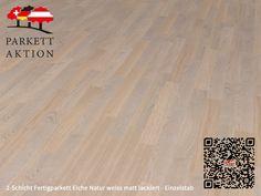 2-Schicht Fertigparkett Eiche Natur weiss matt lackiert - Einzelstab Format: 490 x 70 x 11 mm Hardwood Floors, Flooring, Texture, Ideas, Wood Floor Tiles, Surface Finish, Wood Flooring, Floor, Pattern