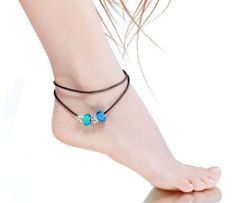 Blue Murano Glass Beads Charm Beaded Leather Anklet – MALALA JEWELRY. Click Here: http://www.malalajewelry.com/collections/charm-anklets