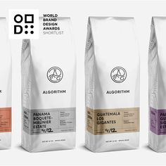 coffee branding World Brand Design Awards - Shortlisted Winner - Agency: Freytag Anderson - Project Title: Algorithm Coffee Co Pouch Packaging, Coffee Packaging, Coffee Branding, Brand Packaging, Chocolate Packaging, Bottle Packaging, Food Packaging Design, Packaging Design Inspiration, Branding Design