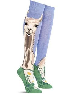 Don't you just llove llamas? Not only are they super-useful as pack animals, but they are also are just plain adorable. It looks like the camel cousins on these awesome knee high llama socks have take