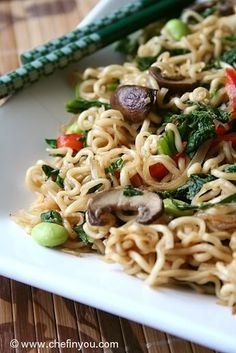 Vegetarian Lo Mein with Mustard Greens