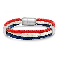 STEELTIME Genuine Leather Patriotic Bracelet with Stainless Steel Magnetic Cl...