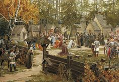 Sergius of Radonezh blessing Dmitry Donskoy in Trinity Sergius Lavra, before the Battle of Kulikovo Medieval World, Medieval Town, Medieval Fantasy, Medieval Times History, Russian Painting, Russian Art, Friedrich Ii, Fantasy Setting, Dark Ages