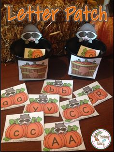 5 Pumpkin themed ABC stations: letter discrimination, letter identification and upper/lowercase letter matching.